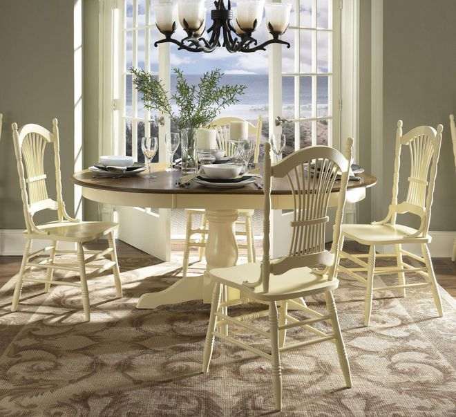 Country french dining room furniture white classic design for Country dining room color ideas