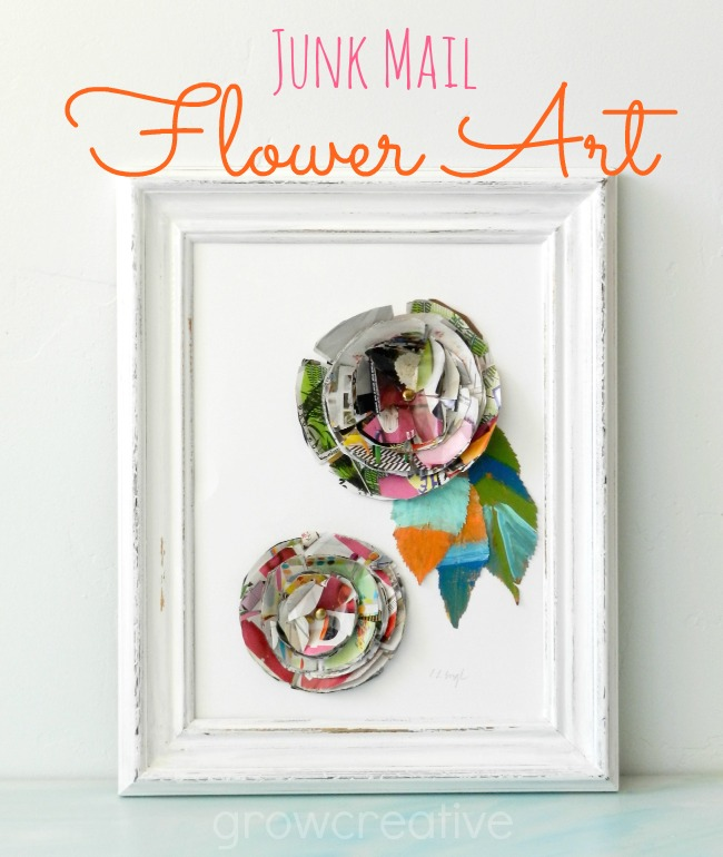 Junk Mail Flowers and Painted Leaves Art: Green Craft