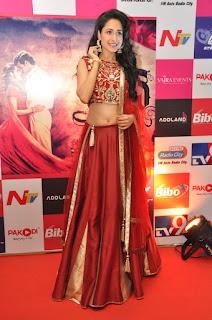 Pragya Jaisawal cute Glamorous Beauty in Red Lehenga Saree and Choli at Kanche audio release