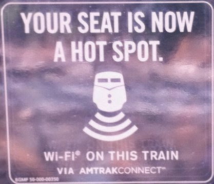 The AmtrakConnect WIFI service on Amtrak trains (image of WIFI window sticker) can experience errors, typically when first starting a trip. But don't despair, typically the steps outlined below can get the WIFI fixed for you and your fellow passengers
