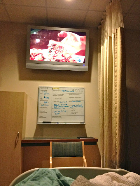 watching Chopped in le hospital bed. Yeah, I jumped into that bed with Kirk. Good wife? Or just don't want to lay on the unbelievably uncomfortable couch? You be the judge.
