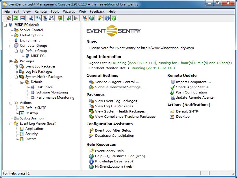 برنامج مجاني لرصد وتتبع كل ما يحدث علي جهازك ومراقبة أداءه EventSentry Light 3.0.1.120