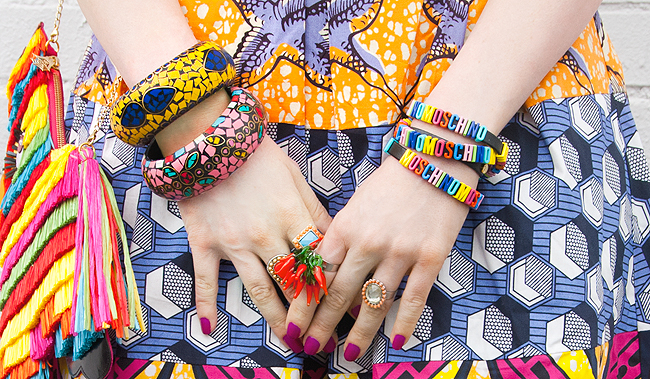 moschino bracelet, print mix, mexican bangles