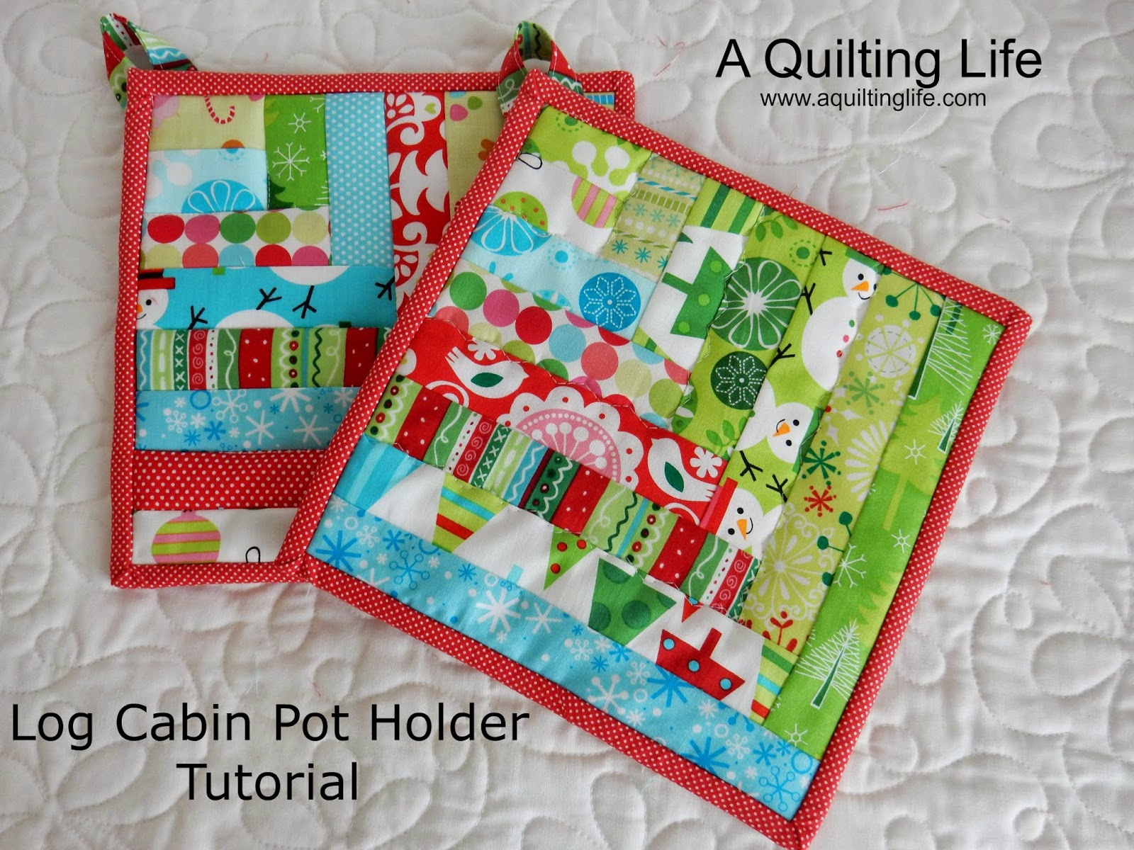 Log Cabin Pot Holder Tutorial | A Quilting Life - a quilt blog : quilted potholder pattern - Adamdwight.com