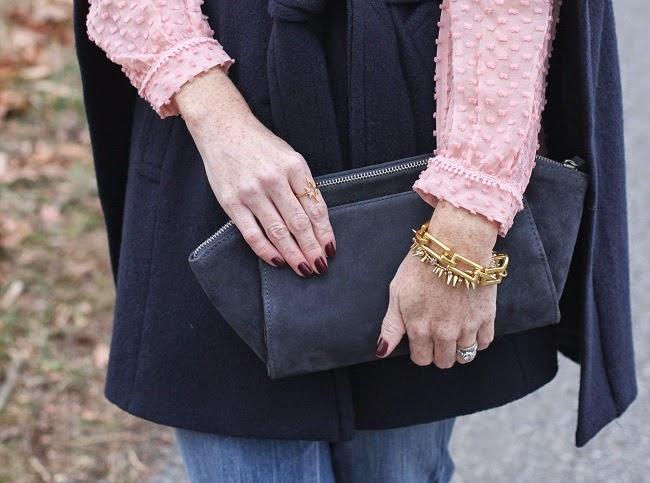 asos clutch, julie vos bracelet, elizabeth and james ring
