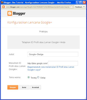 Cara Memasang Widget Google Plus di Blog