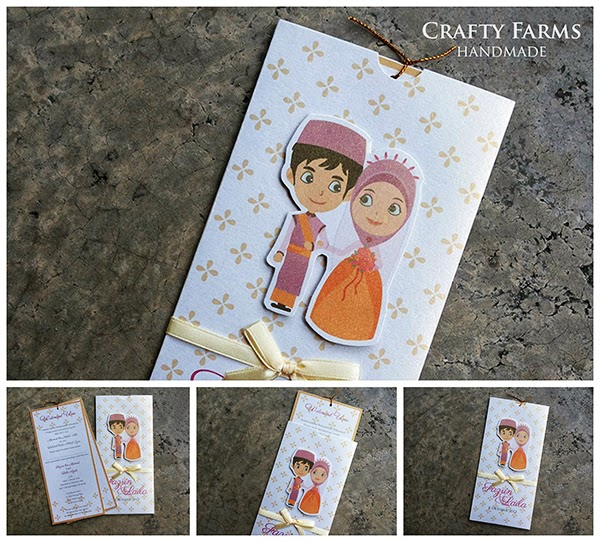 Cute Malay Couple Cartoon Handmade Wedding Pocket Invitation