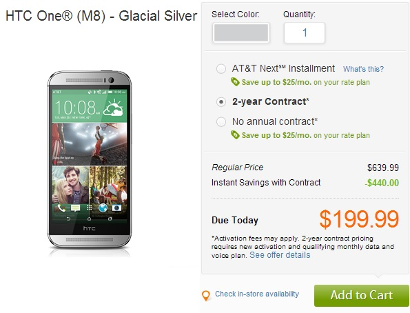 Android HTC One M8 price in usa