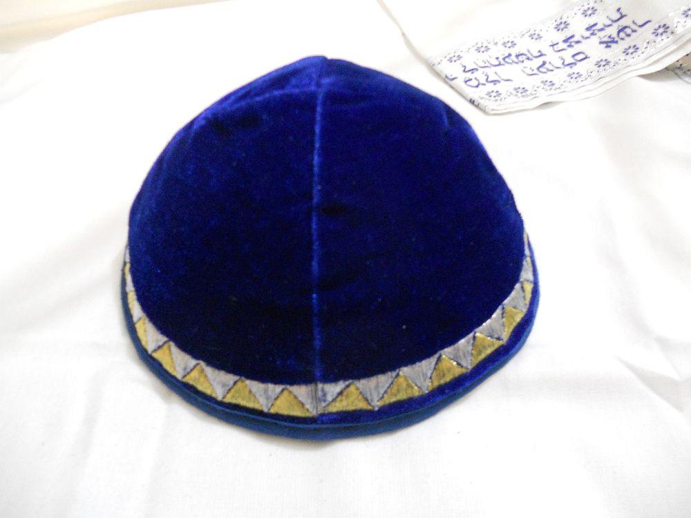 KIPPAH Terciopelo Azul Leal Borde Dorado