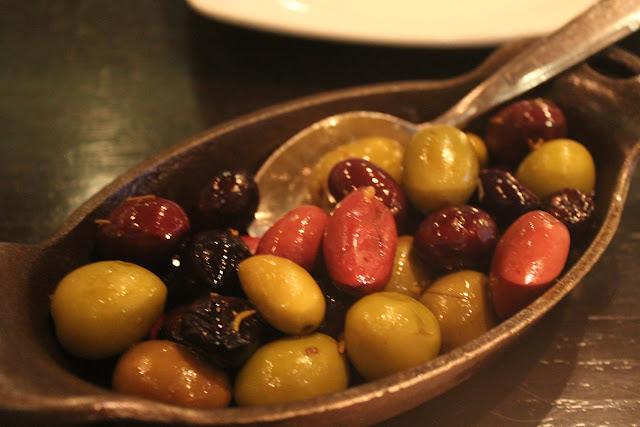 Warm country olives at Nebo, Boston, Mass.