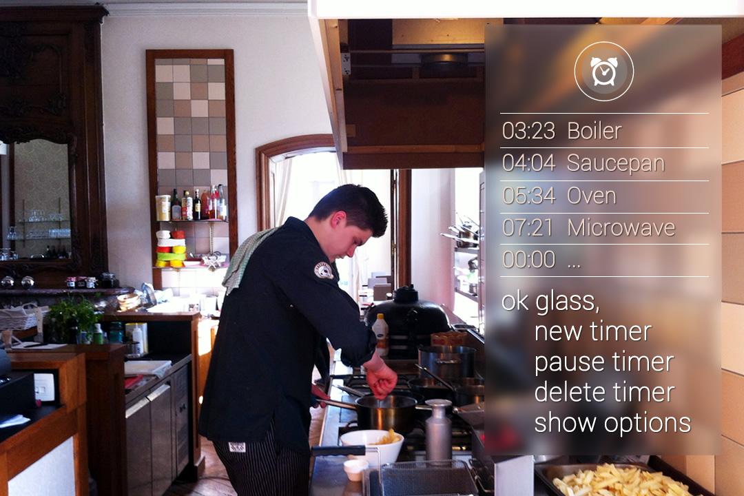 Timers per pan, pot, oven, schotel ... met Google Glass