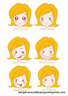 enfadarse, sonrojarse, guiñar un ojo Caras con emociones para imprimir