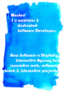 blue painting with words Wanted:One ambituous, dedicated software developer