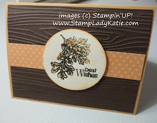Fall Card with the Woodgrain embossing folder and Stampin'UP! Lovely as A Tree Stamp Set.