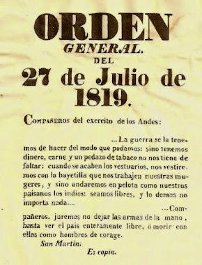 ORDEN del GRAL. SAN MARTÍN.