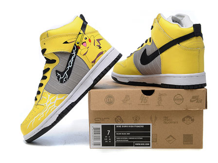 Pikachu Nike Shoes for Sale http://hightopsdunk.blogspot.com/2012/10/high-tops-pikachu-yellow-nike-dunks.html