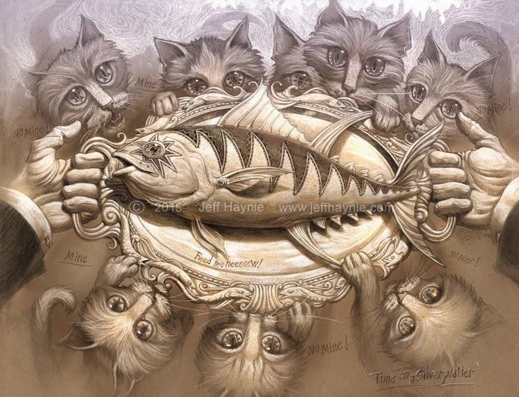 08-Tuna-Silver-Platter-Jeff-Haynie-Cats in Drawings-Paintings-and-Jewelry-www-designstack-co