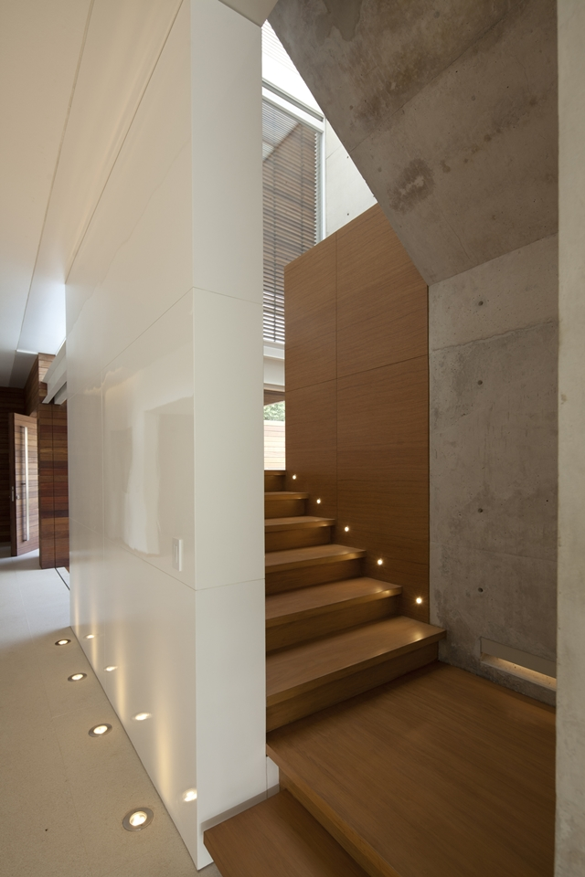Wooden stairs in the FF House in Mexico