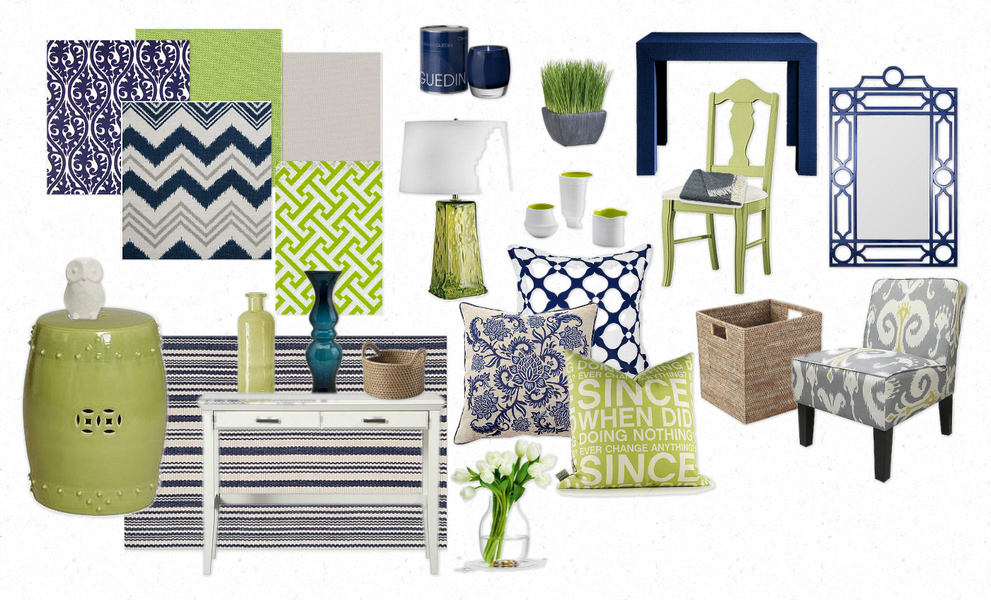 It is a mix of NAVY blue and LIME green with neutral hits of grey and  title=