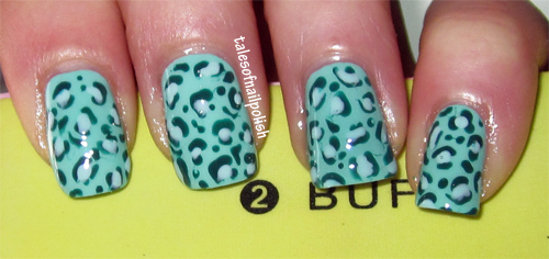 mint green leopard print nail art