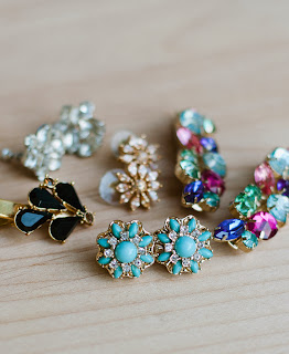 Sparkly statement earrings and hair clips