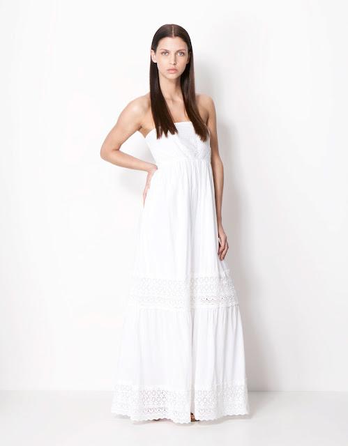 beyaz uzun elbise, yazlık elbise, maksi elbise, gece elbisesi