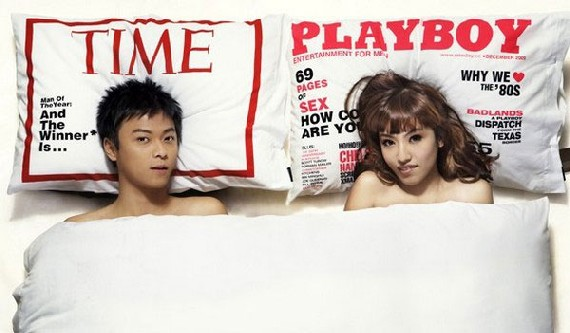 travesseiros capas de revistas playboy e time