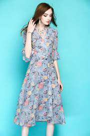 2017 Half Trumpet Sleeve Pale Blue Floral Flare Chiffon Dress