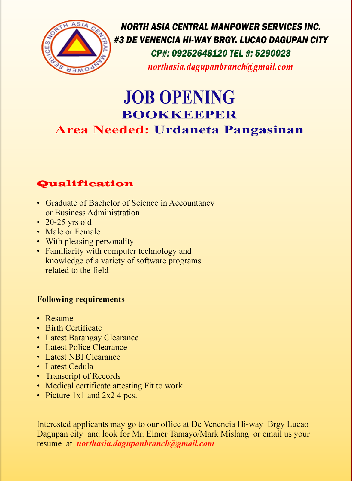 jobs opening bookkeeper urdaneta pangasinan january 2016