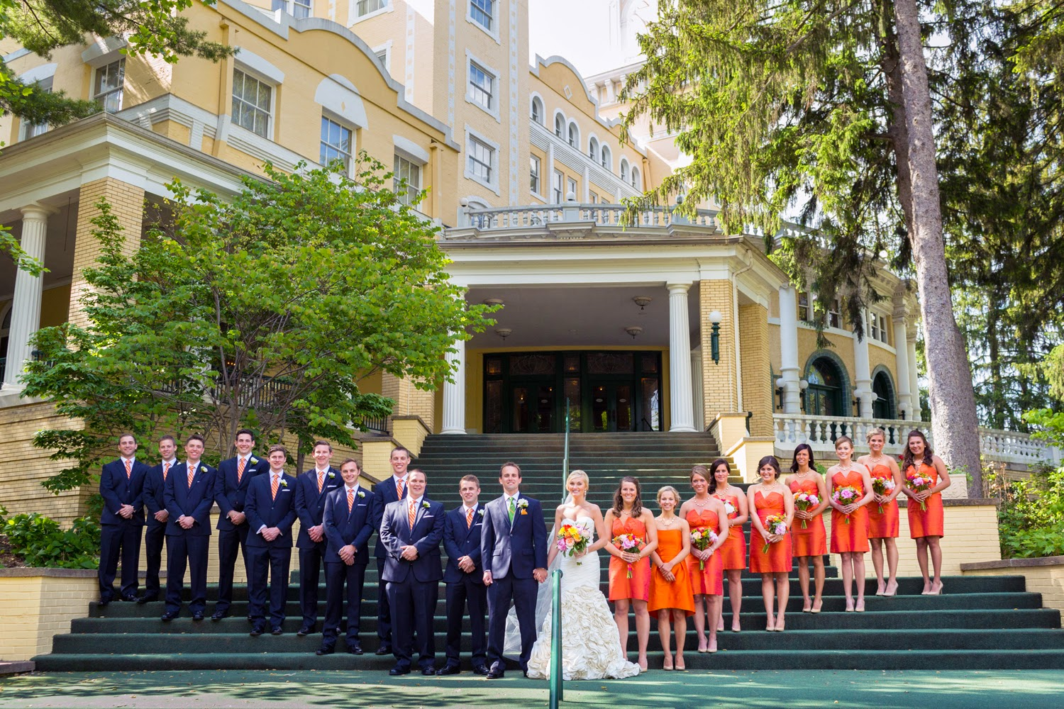 Orange and Gold wedding party