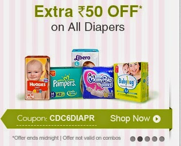Extra Rs. 50 off on All Diapers Today only:- BuyToEarn