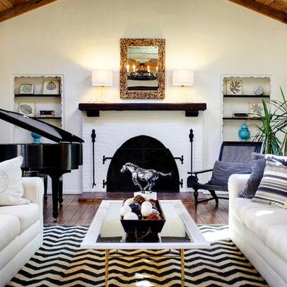 dark blue and white stripy living room rug