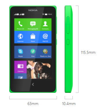 Nokia X Android Smartphone Dimensions and Weight | topicswhatsoever.blogpsot.com