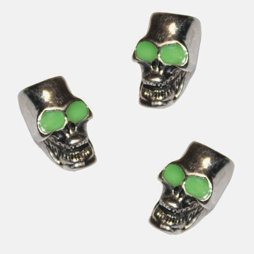Skull Beads with Glow Eyes | Pepperell Braiding Company