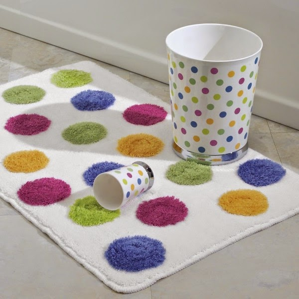 Colorful polkadot Bath Rug