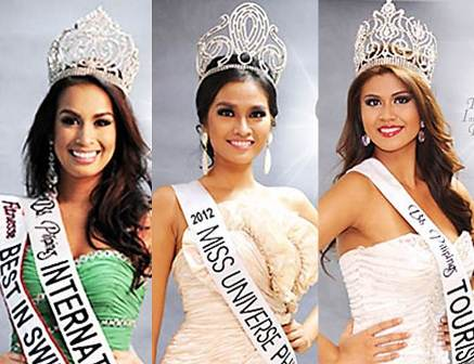 Bb. Pilipinas titleholders: Nicole -International; Janine - Universe; Katrina - Tourism
