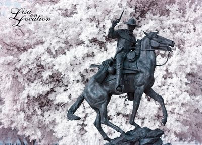 Jack C. Hays statue in infrared, San Marcos, Texas