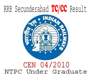 RRB Secunderabad CEN 04/2010 First Stage Written Examination Result and Second Stage Admit Card & Schedule