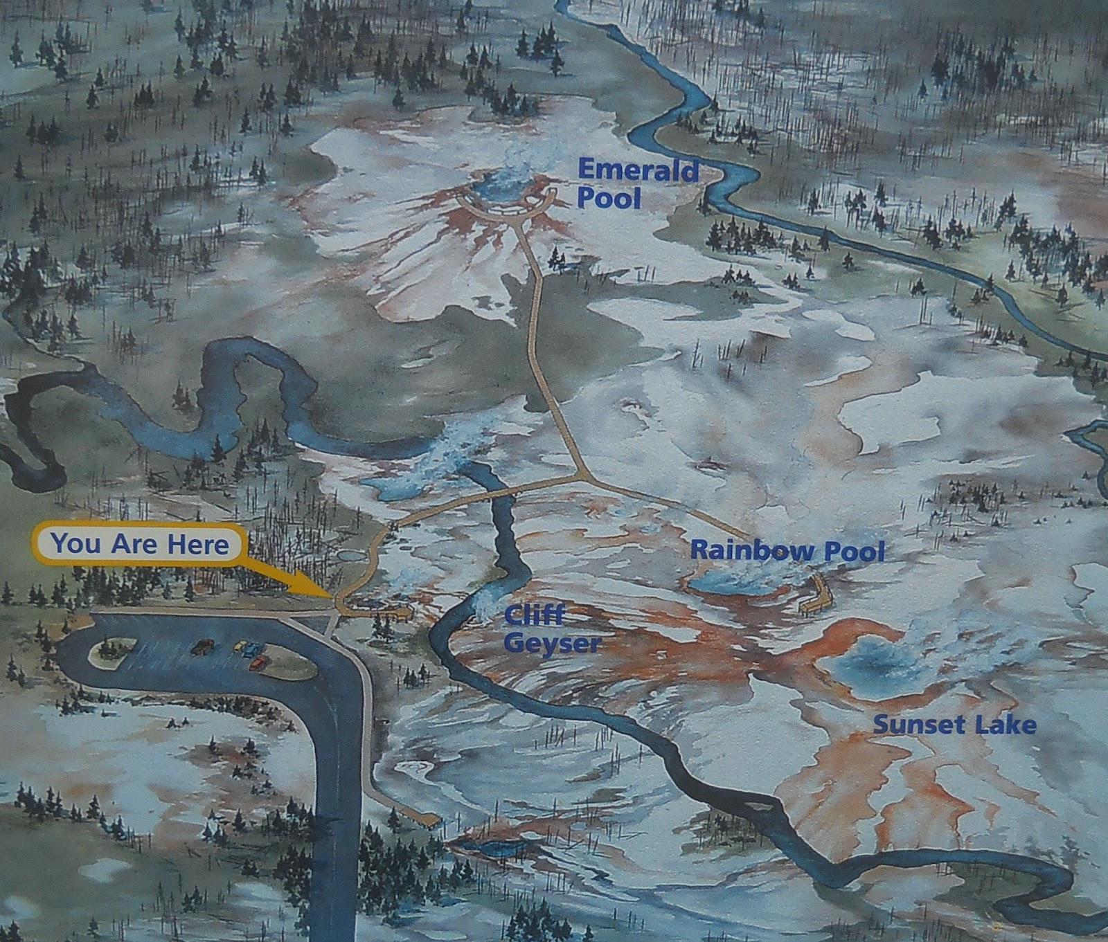 after old faithful i started traveling back north to madison the first stop was black sand basin here is a map of the area