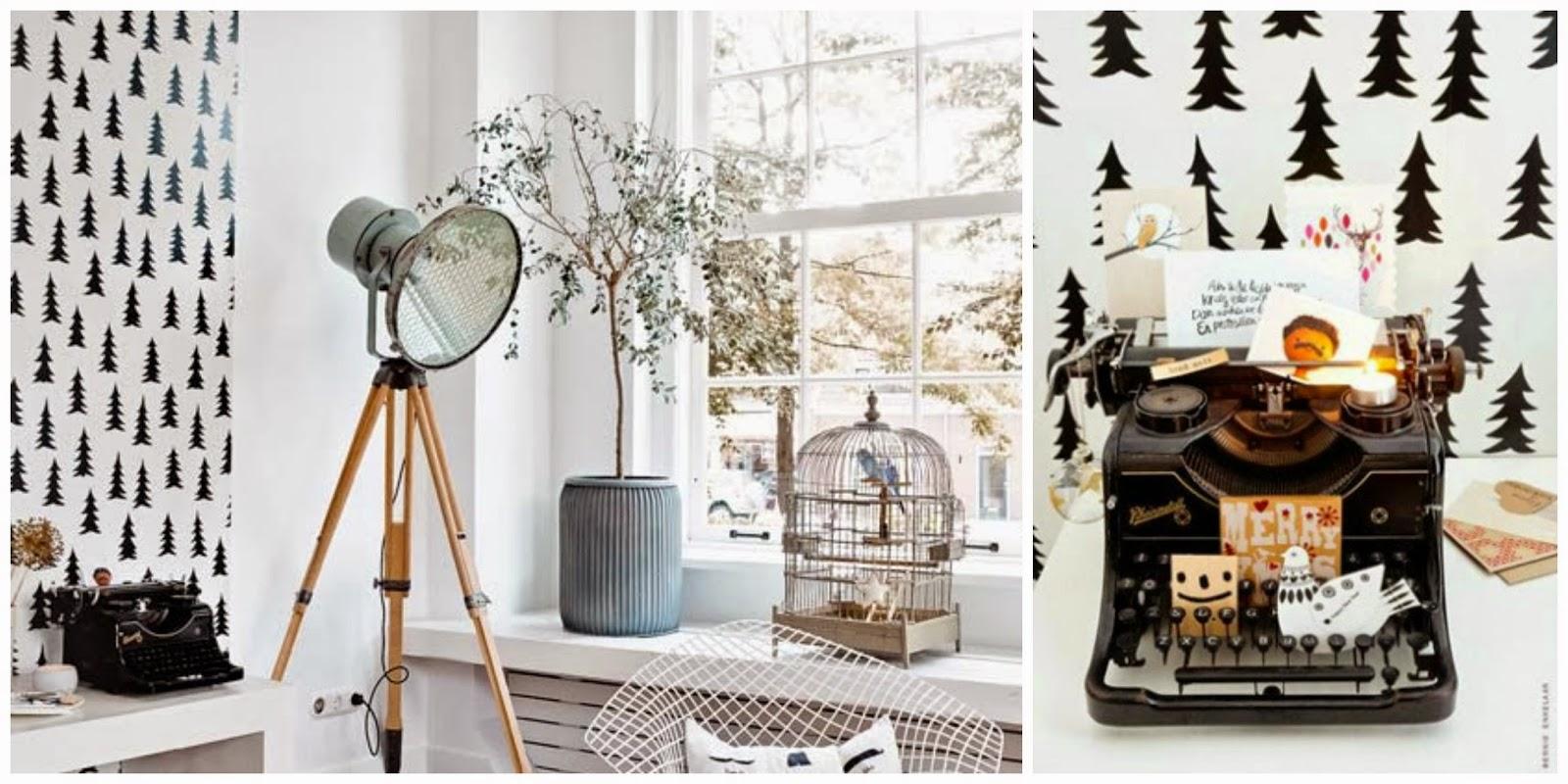 Máquina de escribir decoración nórdica navideña