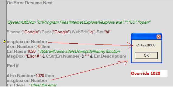 qtp override err number with user define number yogi