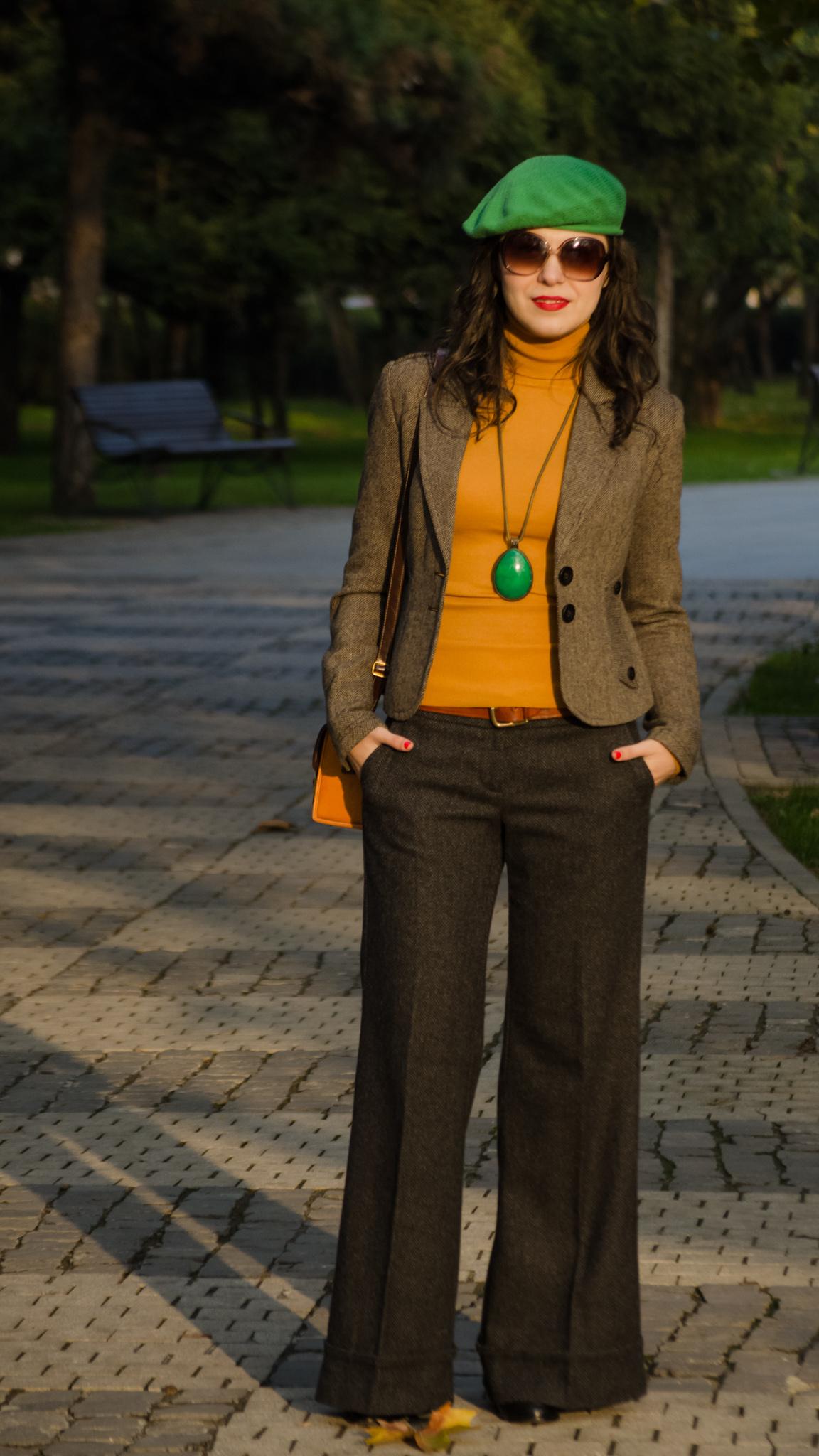 70s flare pants mustard turtleneck brown blazer jacket green beret french promod fall