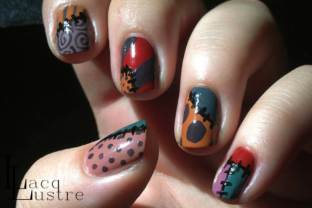 Nightmare Before Christmas Nail Art Sally's Dress