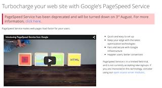Google PageSpeed Service Startseite mit Abschalthinweis
