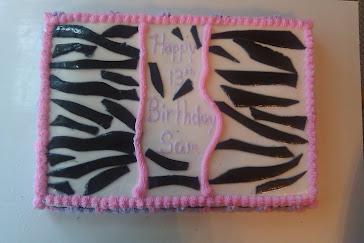 Zebra Print Birthday Cake