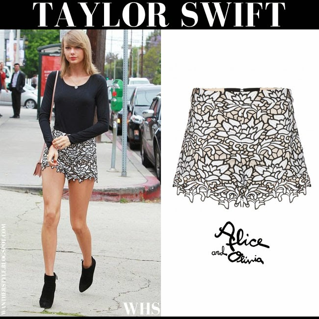 Taylor Swift  in lace scalloped black white shorts from Alice and Olivia and black top what she wore may 9 chic streetstyle fashion