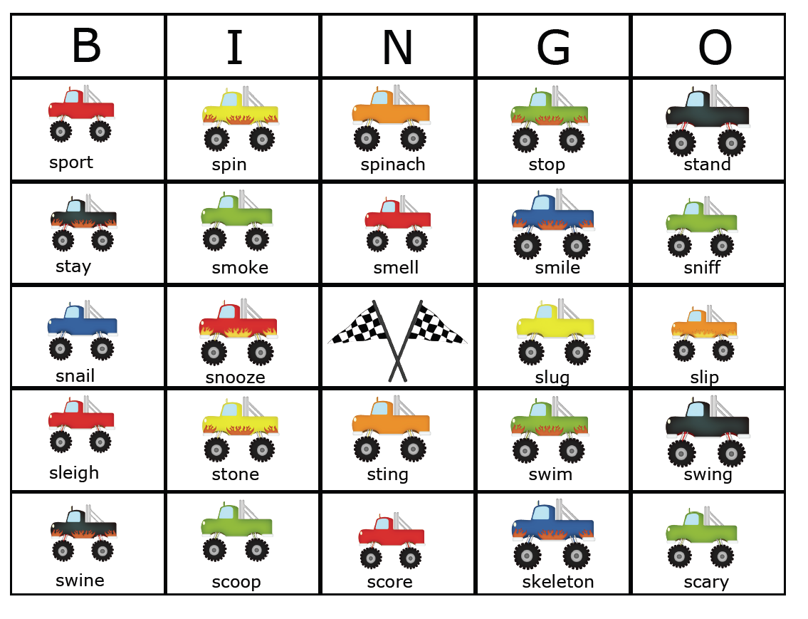 worksheet S Blends Worksheets s2u s blend monster trucks and a giveaway rae includes directions for matching game mixed bingo cards
