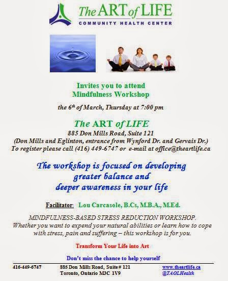 Mindfulness-based stress reduction workshop, The Art of LIfe, Toronto