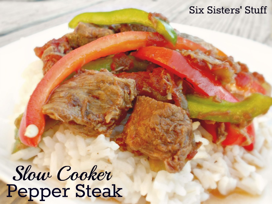 Slow Cooker Pepper Steak / Six Sisters' Stuff | Six Sisters' Stuff