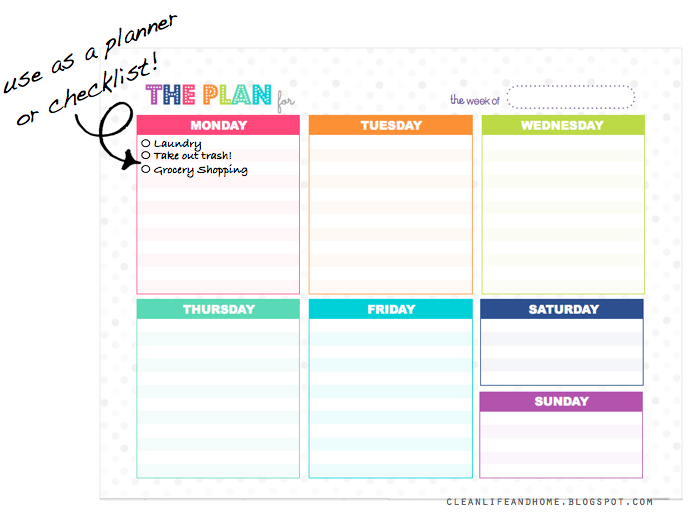 Clean Life and Home Freebie Weekly Planner Checklist The Plan – Weekly Checklist